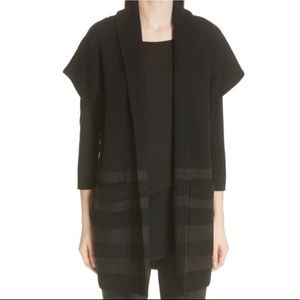 St John Black Long Open Front Layering Cardigan